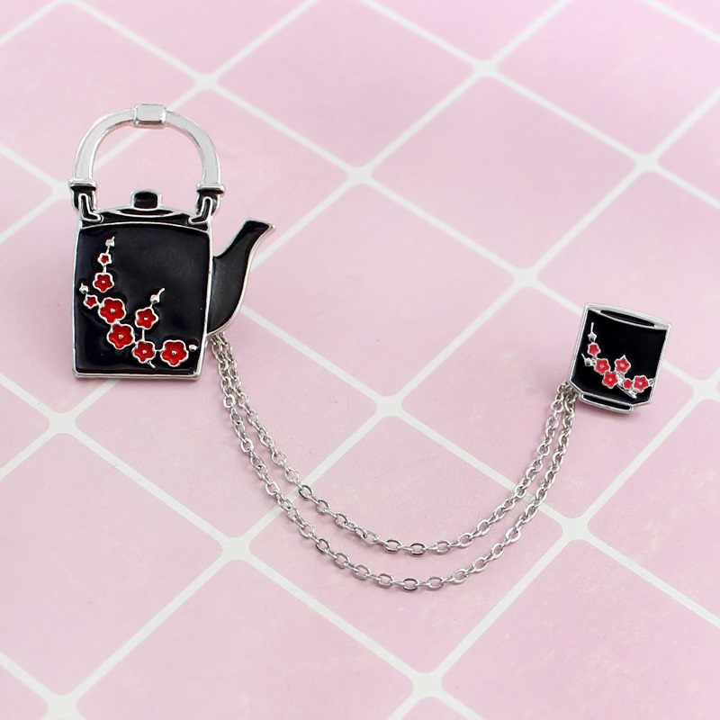 Retro Red Plum Blossom Teapot Teacup Chinese Style With Chain Emblem Brooch Family Gift