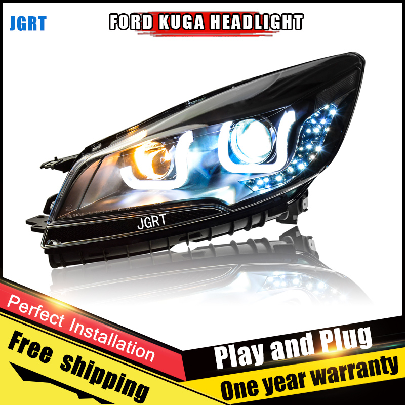 2PCS Car Style LED headlights for Ford Kuga 2013-2015 for Kuga head lamp LED DRL Lens Double Beam H7 HID Xenon bi xenon lens hireno headlamp for 2013 2015 ford kuga escape se headlight headlight assembly led drl angel lens double beam hid xenon 2pcs