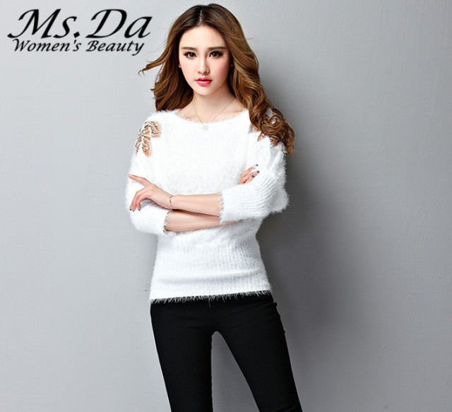 2017 Women Sweaters Pullovers New Bawting Sleeve Lace Winter Cashmere Woman Casual Top Sweater Knitwear Poncho Mujer Pull Femme