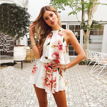2019 New Fashion Women Two-Piece set tracksuits Casual Floral print Clothing Set Halter Crop Top Shorts Summer Clothes Outfits недорого