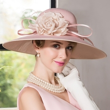 Lady Fedoras Hat English Formal Summer Dress Female European and American  Pink 75c26683cd2
