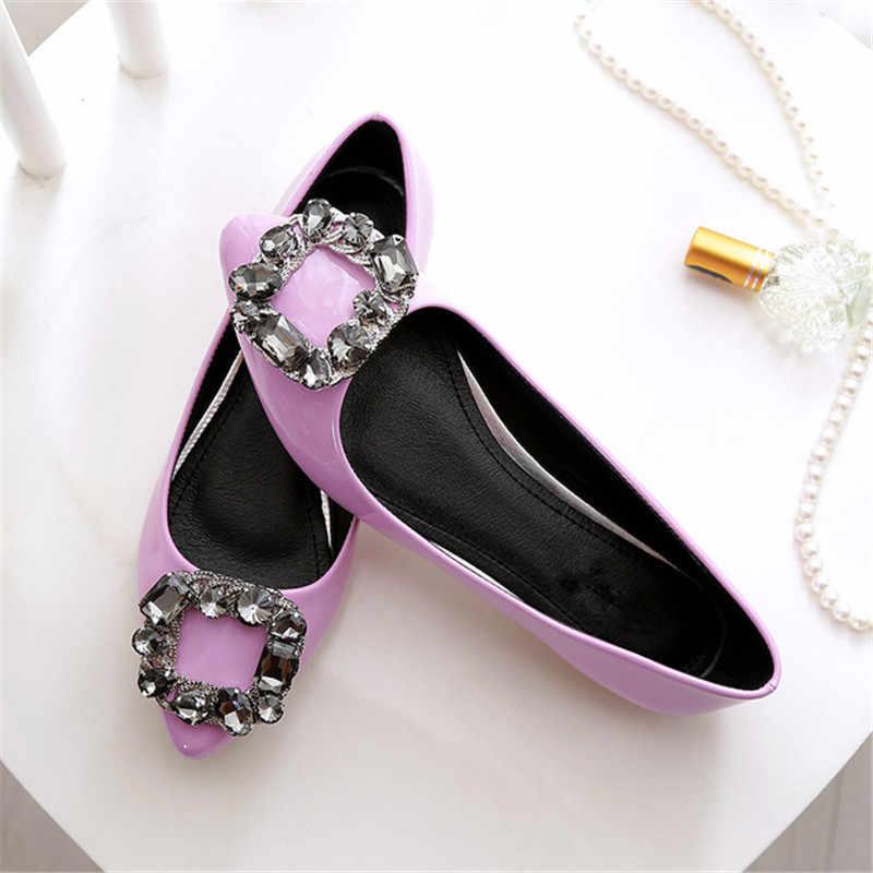 BEYARNE zapatos de charol PU planos de mujer nuevos zapatos de tacón plano de diamante de cristal puntiagudos de moda para mujer