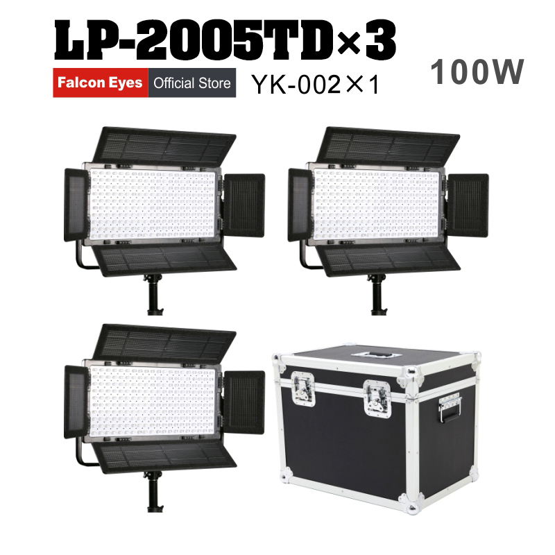 цена на Falcon Eyes 3pcs/lot 100W Dimmable LCD Studio Light Panel LED Video Light LED photo lighting LP-2005TD