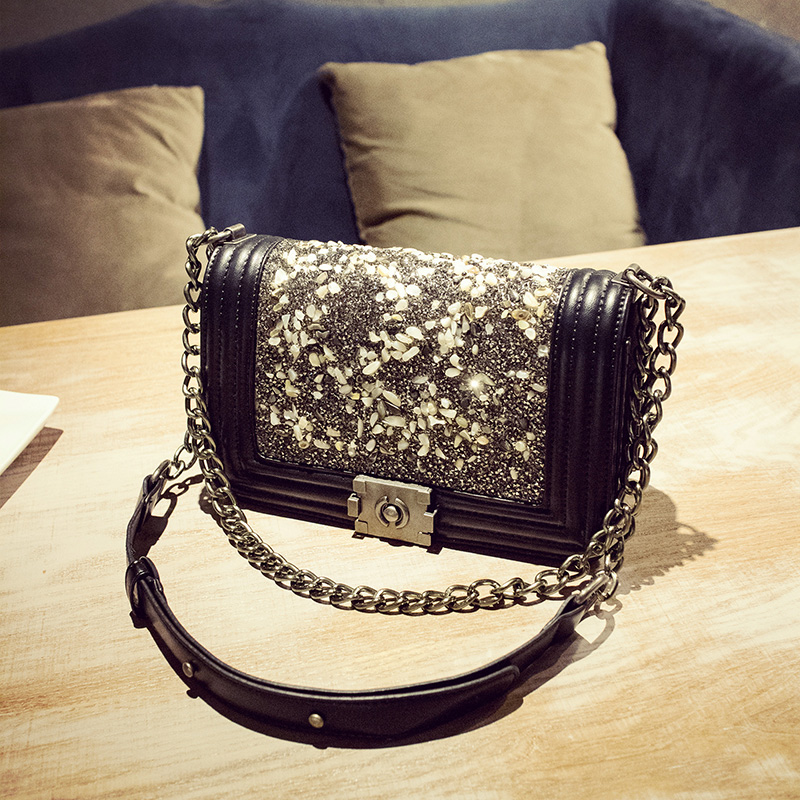 Designer C & C bags famous brand BLACK women bag Chain bag female 2017 autumn lock bag rhinestone one shoulder crossbody on sale