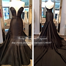 Black Mermaid Long Elegant Prom Dresses Sweetheart Neck Off The Shoulder Taffeta Cheap Floor Length Gowns