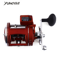 YUMOSHI 12 Ball Bearings Cast Drum Wheel High Speed Fishing Reel With Electric Depth Counting Multiplier