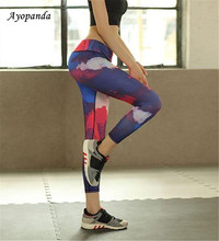 Ayopanda South Korea Rainbow Red&Black Elastic Leggings Unique Printed Yoga Pants Women Running Tights