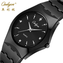 Onlyou Top Luxury Brand Mens Watches Stainless Steel Business Quartz Watch Fashion Dress Watch Male Black