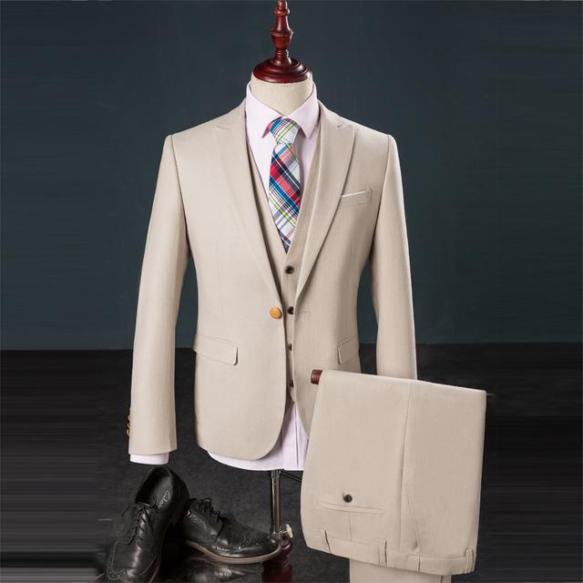 3 Peças Homens Terno Formal Desgaste Outono Inverno Britânico Slim Fit Terno Homens Moda Vestido De Casamento Do Smoking Blazer Set (jaqueta + Calça + Colete)