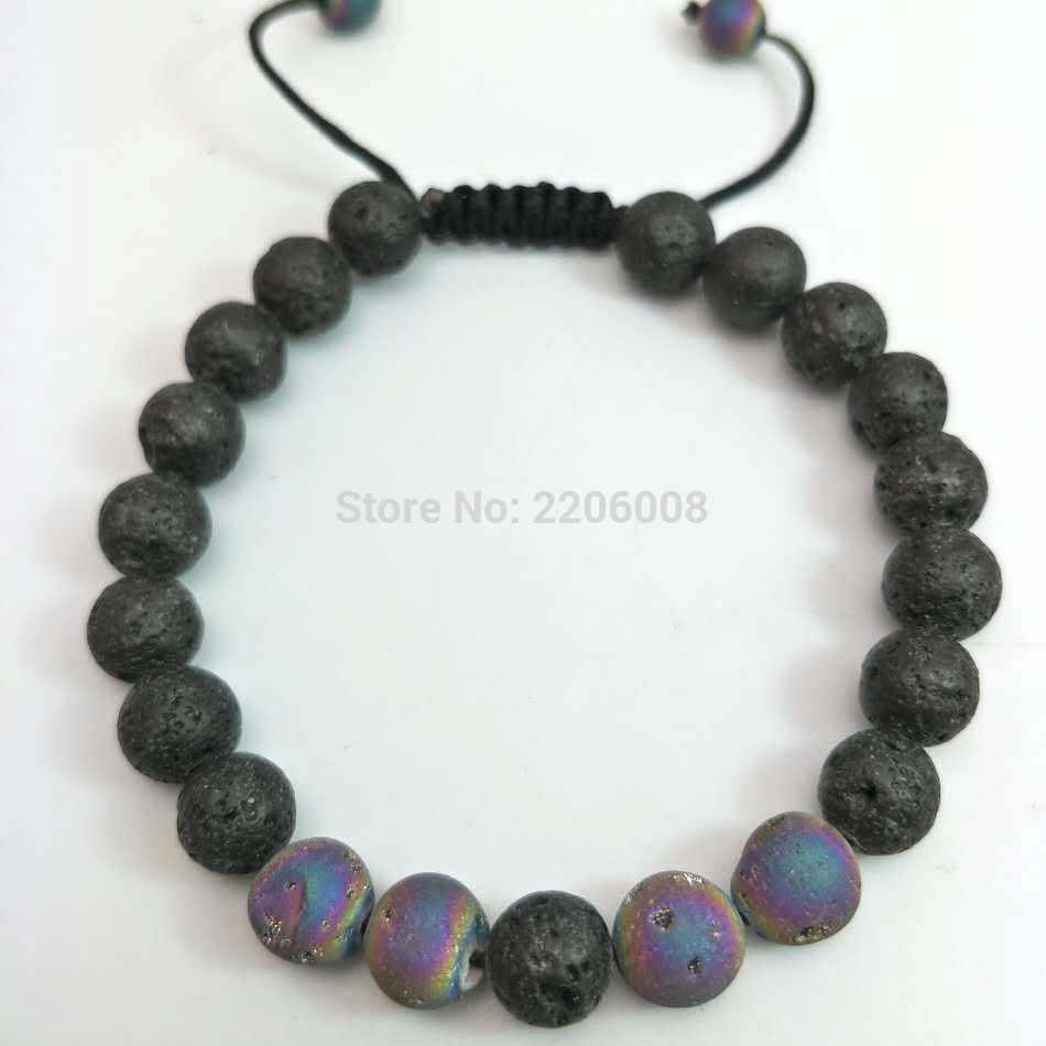 YUZHEJIE, новинка 2018, 8 мм, тигровые глаза, браслет из шпата с натуральным черным лавой, рок-камень, энергетические мужские браслеты из бисера для женщин