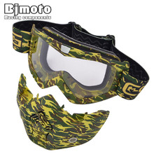Motorcycle Goggles Mask Detachable Wear with Helmet Cycling Sunglasses Motocross Flexible mask Face Dust Glasses