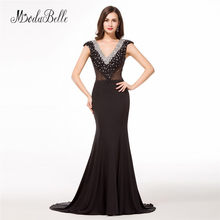 modabelle Mermaid Long Evening Dress With Beads 2018 Black Cap Sleeves Arab  Formal Evening Dinner Gowns For Ladies Free Shipping 6c43815236ea