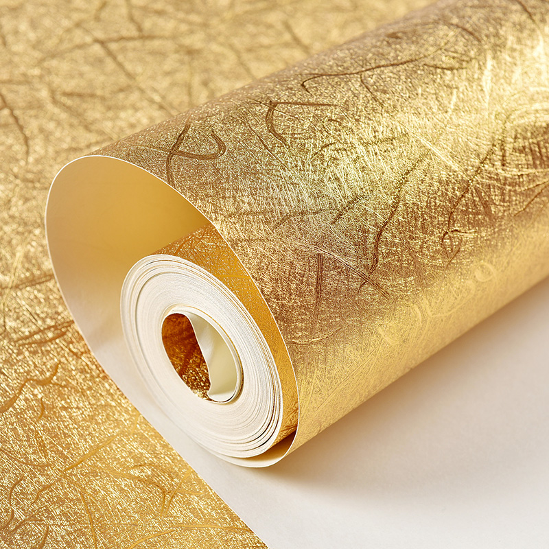Luxury Gold Foil Wallpaper Gold Bedroom Sitting Room Condole Top Ceiling TV Sofa Background Wall Paper Roll the 2016 gold foil chinese dragon background wallpaper