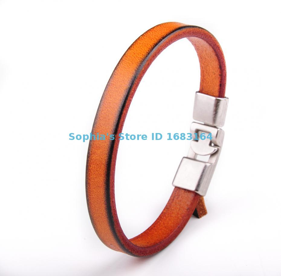 BL12 Brown Mens Single Wrap Slim Plain Leather Cuff Bracelet Wristband
