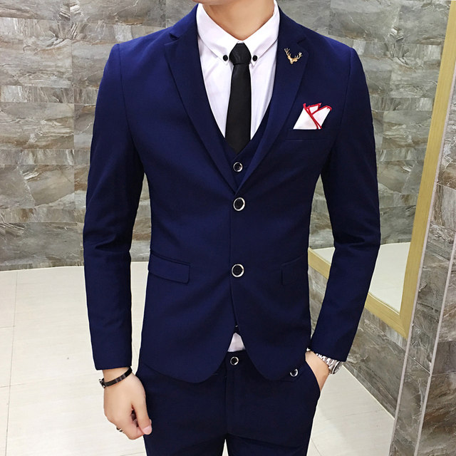 Online Shop 3 Piece Solid Color Formal Suit Latest Coat Pant ...