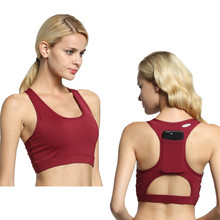 New Women  Sports Bra Breathable Portable Back Pocket Push Up Workout Yoga Shirt Running Sportswear Top