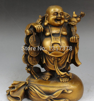shitou 001087 10 Chinese Royal Pure Bronze Stand Happy Laugh Maitreya Buddha Money Bag Statue