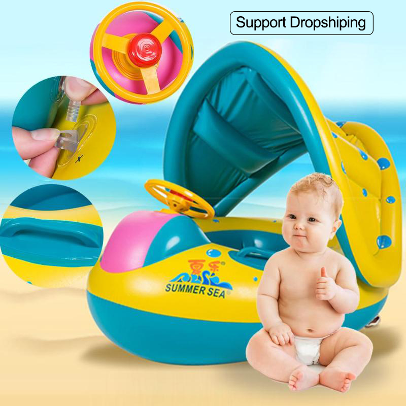 Summer Baby Swimming Pool Inflatable Swim Float Water Fun Pool Toys Swim Ring Seat Boat Kids Water Beach Sport Swimming Ring