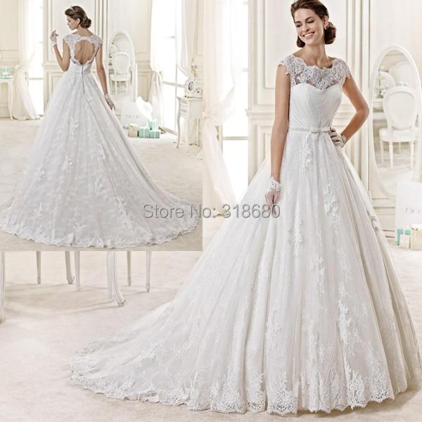 Beautiful Design Scalloped Neck Cap Sleeve Open Back A Line Bridal