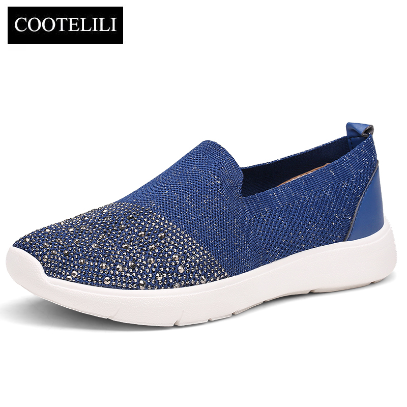COOTELILI Women Sneakers Platform Casual Shoes Woman Flats Slip on Rhinestone Loafers Ladies Black Beige Blue Plus Size 40 41 42 cootelili women flats genuine leather shoes woman casual loafers slip on round toe ladies oxfords white plus size 40 41 42 43