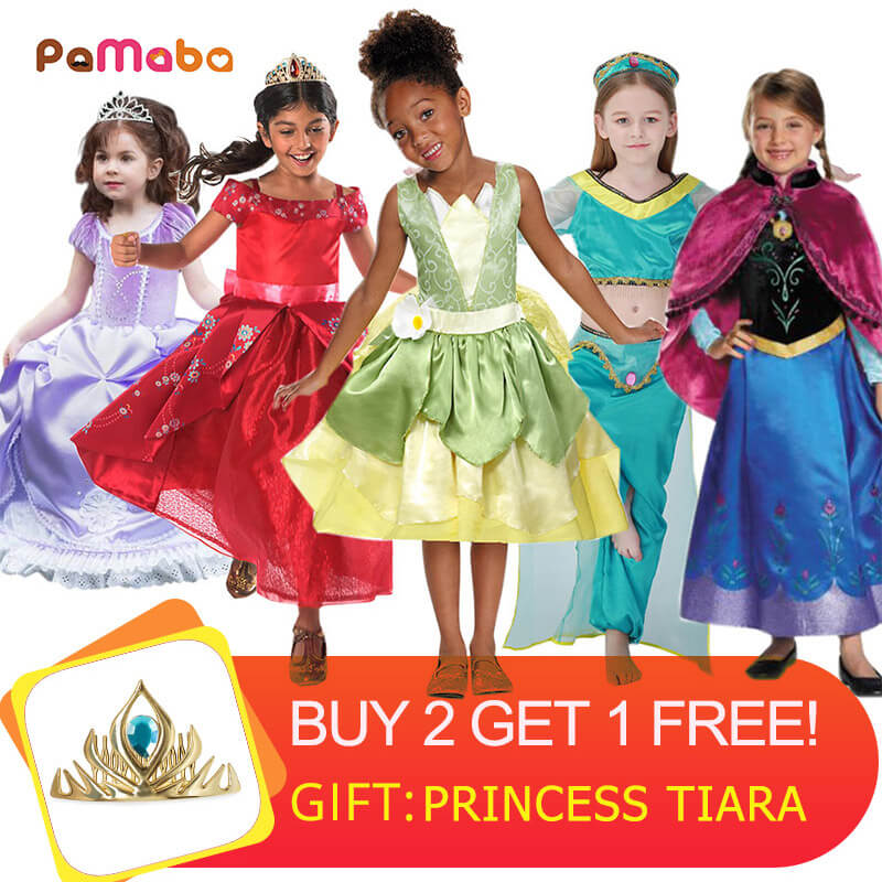 PaMaBa Kid Aurora Unicorn Girls Princess Tiana Sofia Cinderella Anna Elsa Rapunzel Elena Mermaid Elsa Belle Dress Party Costumes girls fairy tale princess synthetic wavy wig children elsa belle rapunzel moana aurora anna mermaid party braid cosplay hair wig