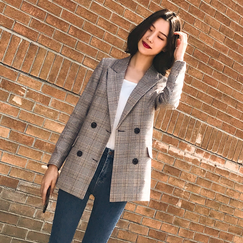Vintage Double Breasted Plaid Women Blazer High Quality