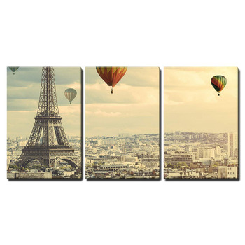 3 Piece Canvas Wall Art - Colorful Hot Balloons Flying Above The Tower in Paris Printed On Canvas Wall Decor Drop shipping