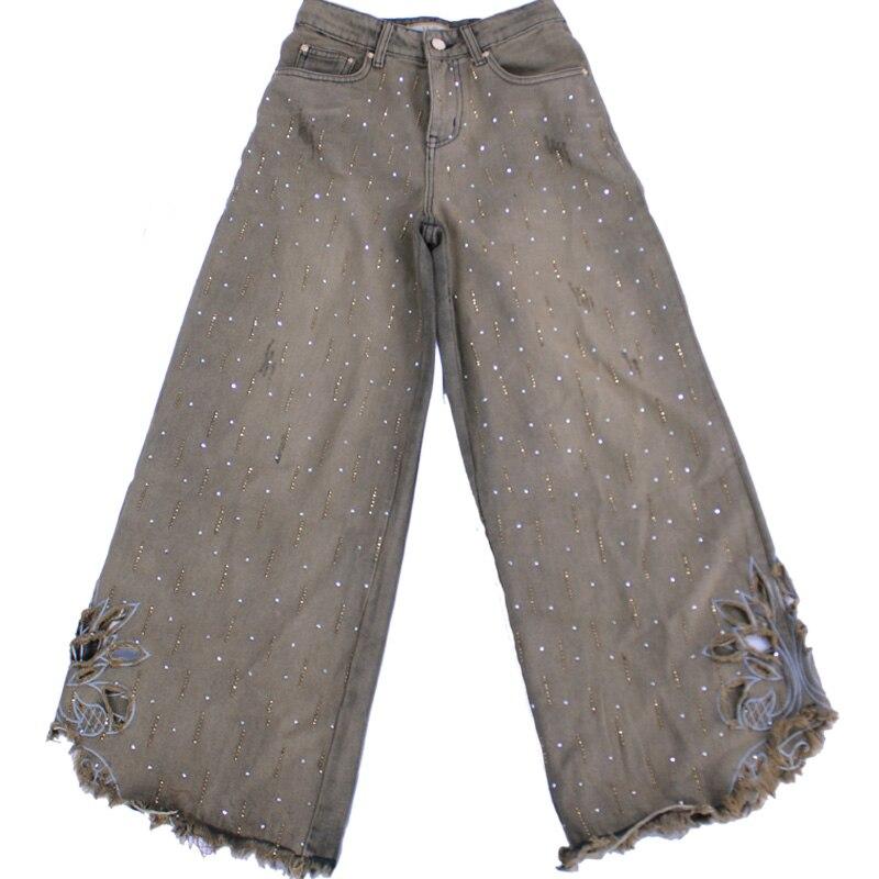 2019 printemps automne mode lâche perles diamant jeans femmes évider taille haute rétro lâche jambe large jeans