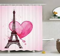 Eiffel Tower Decor Shower Curtain Set, Eiffel Romantic Valentine Love Watercolor Themed Heart Leaf Silhouette Print