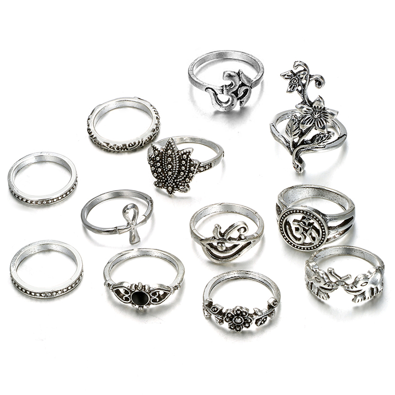 HuaTang Bohemian Antique Silver Ring Geometric Elephant Flower Green Rhinestone Knuckle Rings Midi Finger Anel Rings Jewelry 102