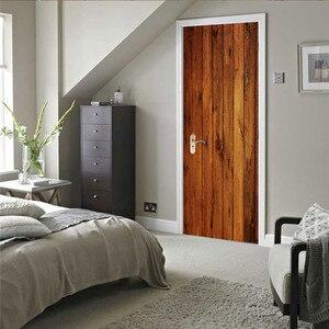 Image 5 - 2pcs/set Wood Door Wall Stickers Bedroom Home Decoration Poster PVC Waterproof Door Stickers Imitation 3D Decal