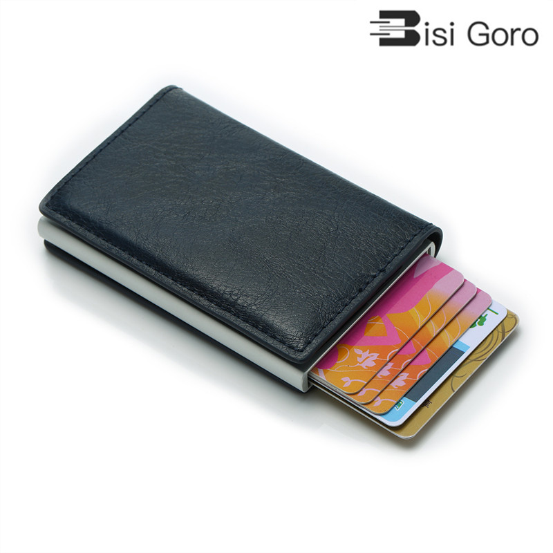 BISI GORO Unisex Purse Mini Aluminium Metal Slim Business Card Wallet Men Credit Card Holder Blocking Rfid Wallet  MoneyClips