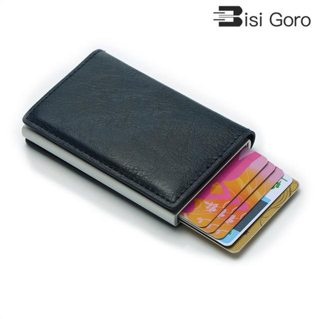BISI GORO Unisex Purse Mini Aluminium Metal Slim Business Card Wallet Men Credit Card Holder Blocking Rfid Wallet  MoneyClips