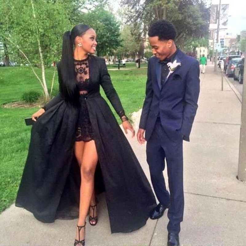 Amazing Two Pieces Long Sleeves Floor Length Jacket Black Lace Evening Dresses Long Red Carpet Celebrity Maxi Prom Party Gowns
