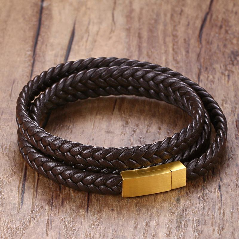Mens braslet Triple Wrap Around Braided Leather Bracelets Bangles Men Stainless Steel Magnetic Clasp Wristband Male Jewelry