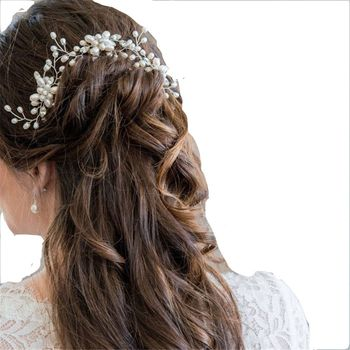 Wedding Bridal Pearl Flower Crystal Hair Pin Bridesmaids Clip Side Comb 1