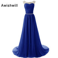 Hot Sale Cheap Cap Sleeve Beadings Chiffon Evening Dresses Long Special Occasion Party Dress Gown Royal