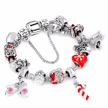 European Snow Charms Bracelet for Women Luxury Brand Alloy Beads Snake Chain Bracelets Silver Plated Jewelry