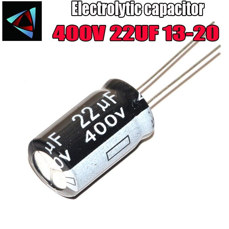 4PCS Higt Quality 400V 22UF 13-20mm 22UF 400V 13*20 Electrolytic Capacitor
