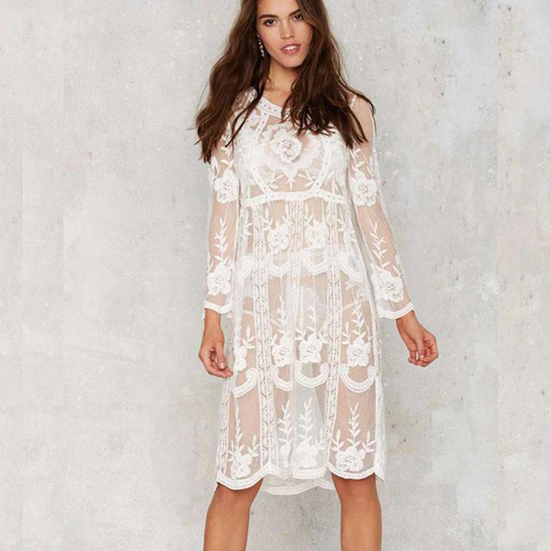Plus Size Crochet Jacquard Lace Dress 2017 Boho Maxi Vintage Hollow