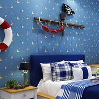Factory Direct Sale Environmental Protection Non Woven Wallpaper Star Moon Boy Girl Bedroom Wallpaper Children S