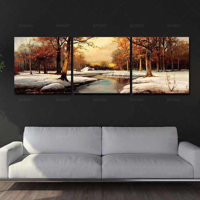 Canvas Painting Art Wall Decor Paintings Scenery Beautiful Trees River Snow  Portray Modern Abstract Paintings Occident