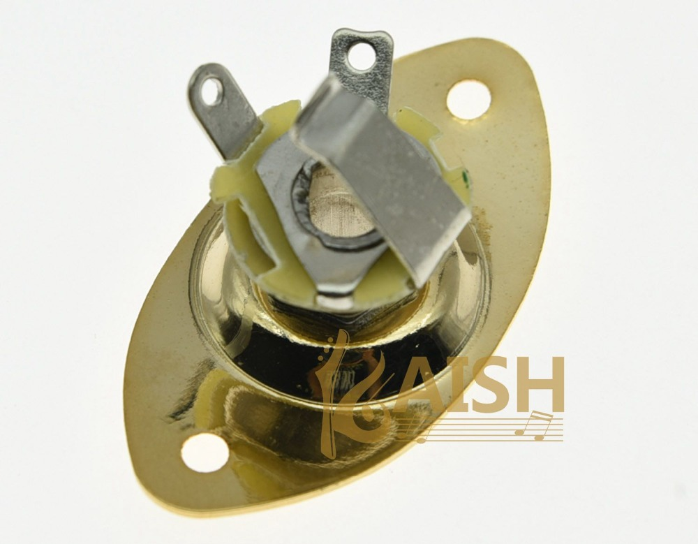 купить KAISH Gold Electric Guitar Jack Plate Oval Output Jack Socket по цене 285.18 рублей