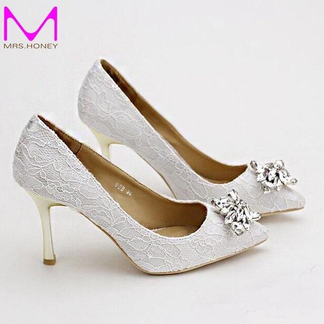 Women Wedding Shoes Pointed Toe White Lace Rhinestones Bridal High Heels Elegant Party Satin