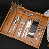 Expandable 8 Compartments Cutlery Storage Drawer Tableware Set Storage Box Durable Strong Bamboo Household Kitchen Organizer