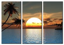 3 pieces framed Wall Art Picture Gift Home Decoration Canvas Print painting sunset seascape wholesale/(China)