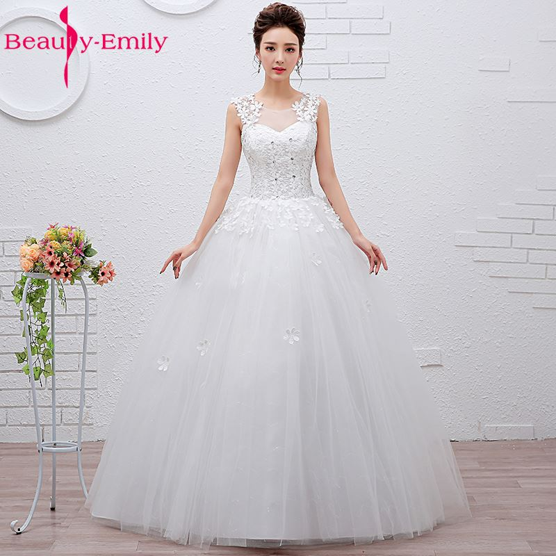 Beauty-Emily White Cheap Long Ball Gown Wedding Dresses 2018 Wedding Party Bridal Dresses vestido de casamento Wedding Gowns