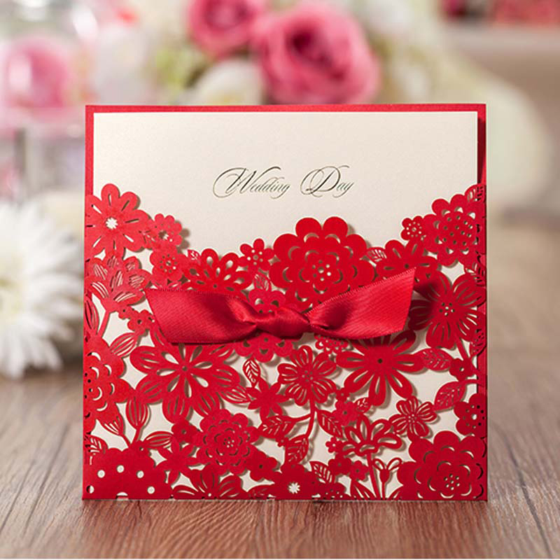 (50 Pieces/lot) Romantic Laser Cut Flower Red Wedding Invitation Card With  Bowknot