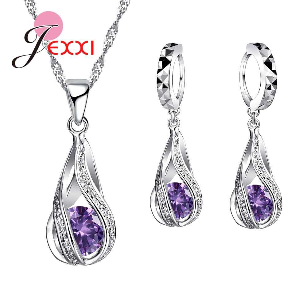 Luxury New Style Water Drop Crystal Jewelry Sets Multicolor 925 Sterling Silver Earrings Necklaces for Women Exquisite Gifts