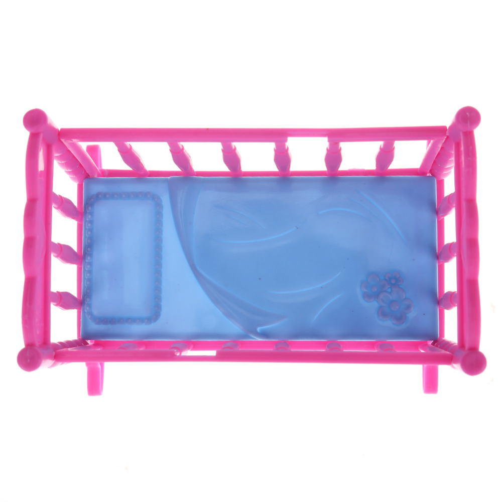 One Set Doll Accessories Baby Bed For Mini Doll Girl Home Furniture ...